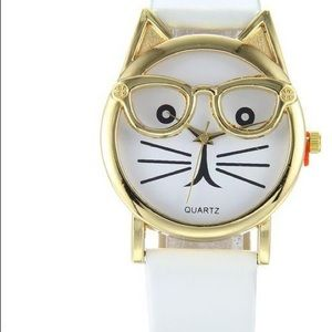 Cat w/ Glasses watch - White